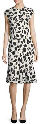 Narciso Rodriguez Cap-Sleeve Leaf-Print Flounce Dress