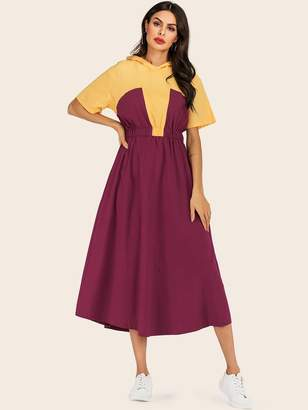 18a7d8d0a Shein Color Block Elastic Waist Hooded Long Dress