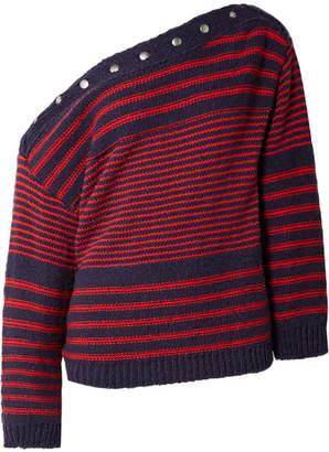 Philosophy di Lorenzo Serafini Asymmetric Embellished Striped Cotton Sweater - Navy