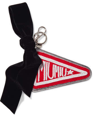 Miu Miu Beaded Felt, Velvet And Metallic Textured-leather Keychain - Silver