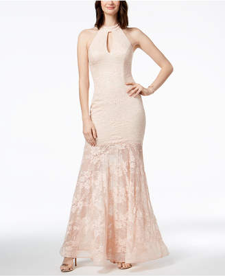 Xscape Evenings Sequined Lace Mermaid Halter Gown