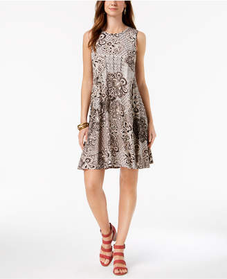 Style&Co. Style & Co Printed Sleeveless A-Line Dress, Created for Macy's