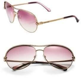 Roberto Cavalli 61MM Crystal & Metal Aviator Sunglasses