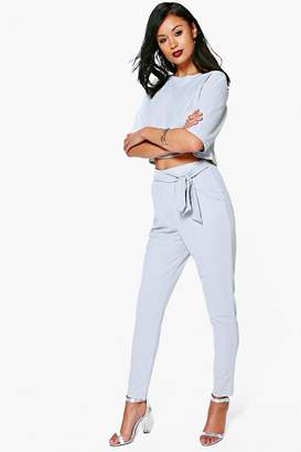 boohoo T Shirt & Tie Waist Trouser Co-ord