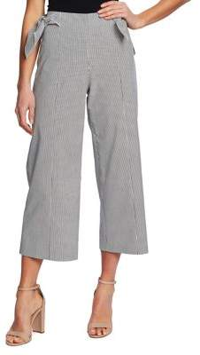 CeCe Desert Striped Cotton Blend Wide-Leg Seersucker Pants
