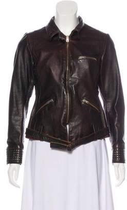Golden Goose Leather Zip-Up Jacket