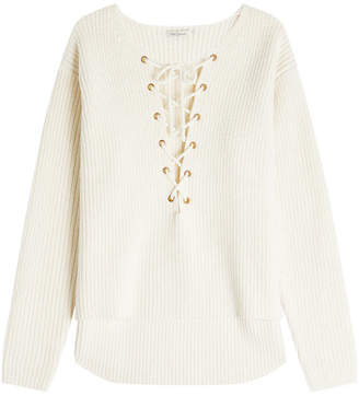 Mes Demoiselles Ribbed Wool Pullover with Lace-Up Front