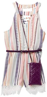 Beautees Belted Striped Romper & Accessory Bag (Big Girls)