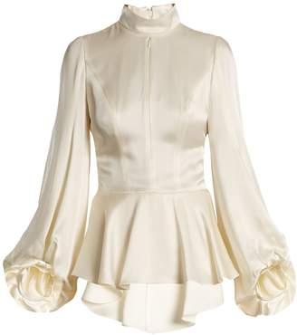 Andrew Gn Asymmetric peplum-hem satin blouse