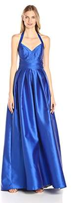 Carmen Marc Valvo Women's V Neck Mikado Ballgown W. Mesh Illusion Insets in Back, 4