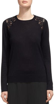 Whistles Lace-Inset Merino Wool Sweater $210 thestylecure.com
