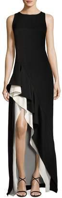 Halston Sleeveless Round-Neck Colorblocked Flounce-Skirt Evening Gown