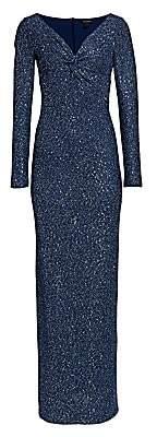 St. John Women's Sequin Knit V-Neck Column Gown - Size 0