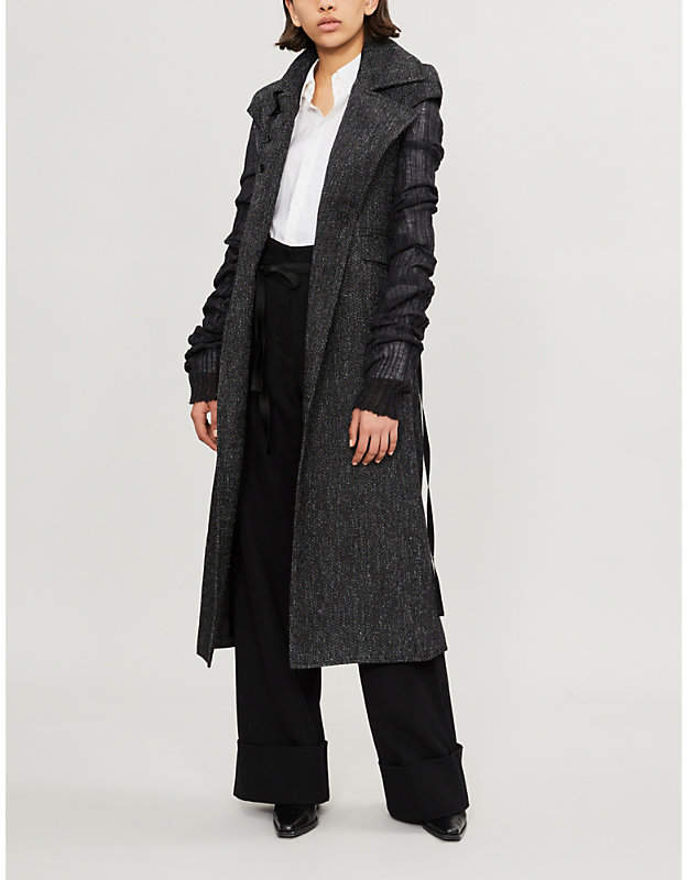 Contrast-sleeve woven and knitted coat