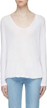 James Perse 'Heather' overlock stitching V-neck long sleeve T-shirt