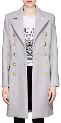 Balmain Women's Wool-Cashmere Melton Long Military Coat - Lt Gray