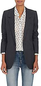 Saint Laurent WOMEN'S WOOL TWILL ONE-BUTTON BLAZER-DARK GREY SIZE 42 FR