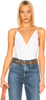 Jonathan Simkhai Mixed Knit Lace Bodysuit in White | FWRD