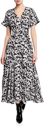 Derek Lam 10 Crosby Short-Sleeve Floral Wrap Midi Dress