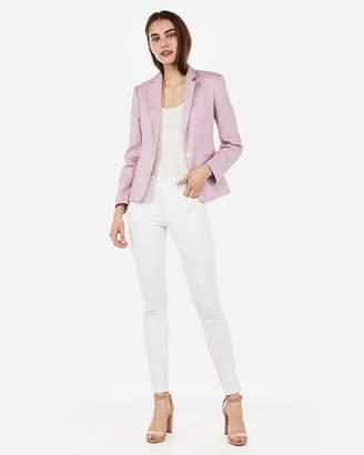 Express Marled Linen-Blend One Button Blazer