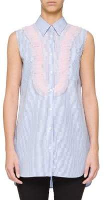 Prada Striped Tulle Ruffle Shirt