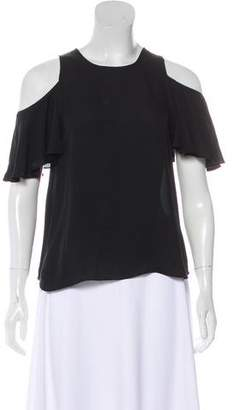 Halston Cold Shoulder Silk Top
