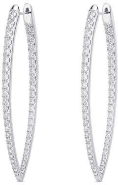 Memoire 18k White Gold Diamond V-Shape Hoop Earrings