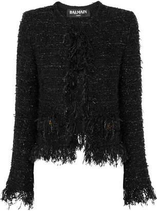 Balmain Frayed Metallic Bouclé Jacket - Black