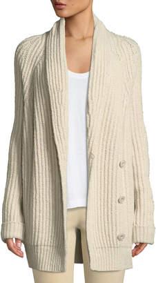Shawl-Collar Wool-Blend Cardigan
