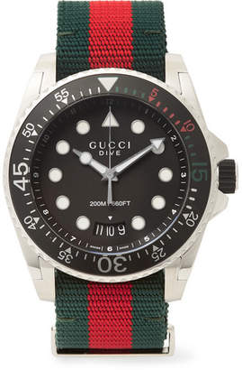 Gucci Dive 45mm Stainless Steel and Webbing Watch - Men - Black