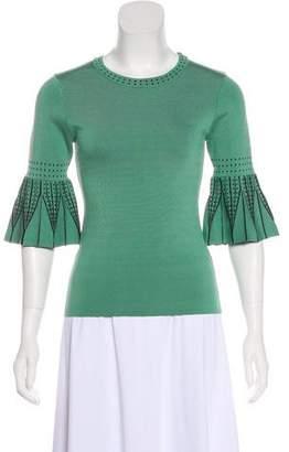 Ronny Kobo Knit Trim Printed Top