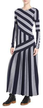 Gabriela Hearst Felicia Crewneck Long-Sleeve Asymmetric Stripe Wool Ankle-Length Dress