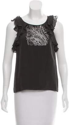Tibi Embroidered Silk Top