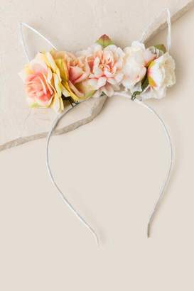 francesca's Flower Bunny Ear Headband in White - White