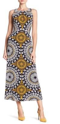 London Times Jewel Neck Pleat Print Maxi Dress