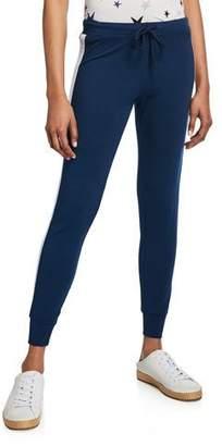 Monrow Star Elastic Side-Stripe Drawstring Skinny Sweatpants
