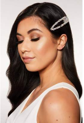 Quiz Silver Iridescent Diamante Hair Clip