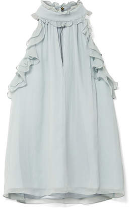 Rachel Zoe Esther Ruffle-trimmed Silk-crepon Top - Mint