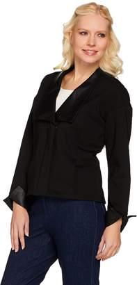 Halston H By H by Ponte Knit Jacket with Leather Lapel and Cuffs