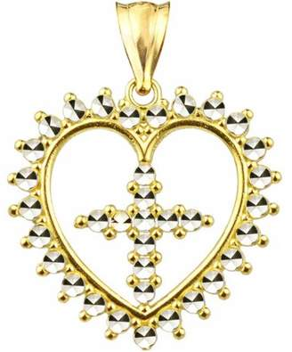 US Gold Handcrafted 10kt Gold Diamond-Cut Heart With Cross Charm Pendant