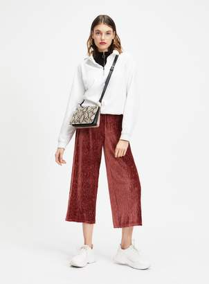 Miss Selfridge Rust Velvet Plisse Crop Trousers