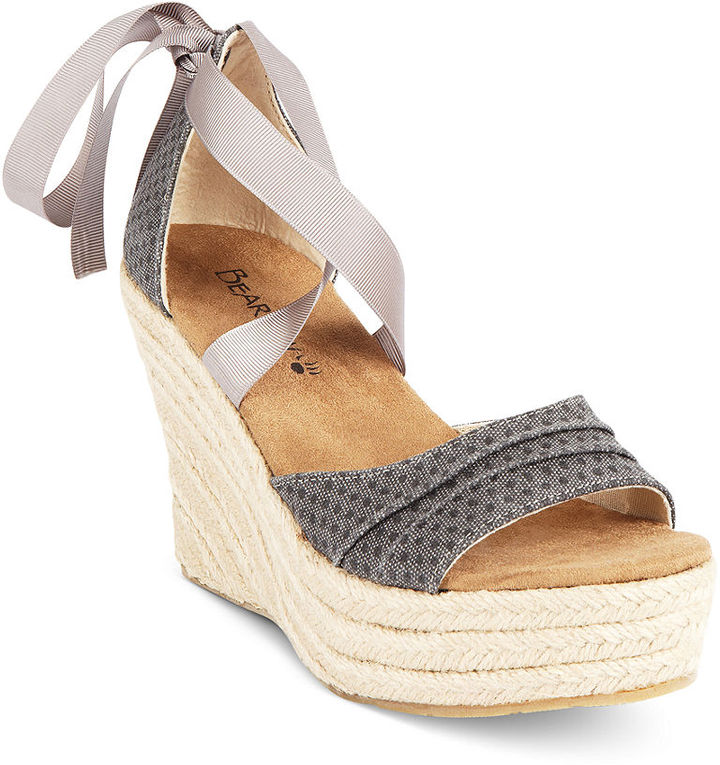 BearPaw Macy's Shoes, Dahlia Espadrille Platform Wedge Sandals