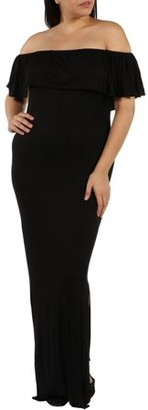 24/7 Comfort Apparel Women's Plus Long Cool Woman Off the Shoulder Dress