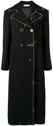 Marni long contrast stitching peacoat