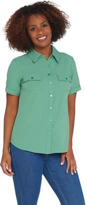 Denim & Co. Short Sleeve Button Front Camp Shirt