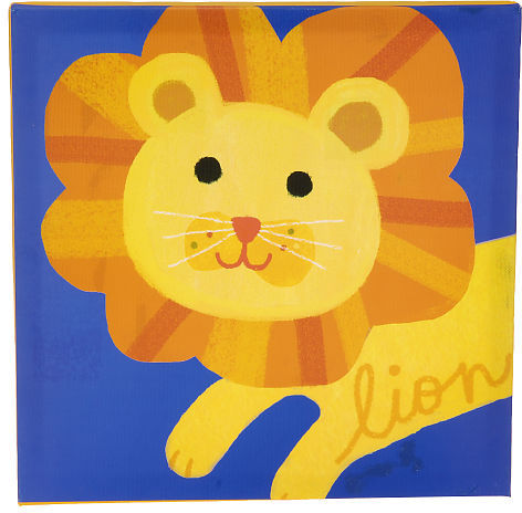 Kids Line Lion Stretched Canvas Wall Art