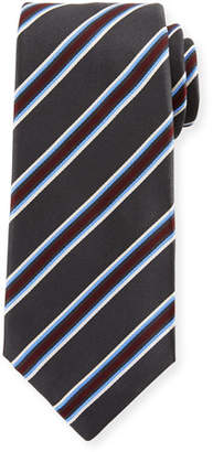 Kiton Framed Satin Stripe Tie, Gray
