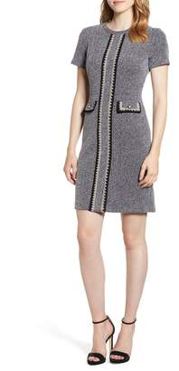 Karl Lagerfeld PARIS Crochet Detail Tweed Dress
