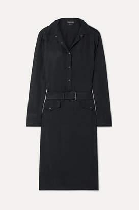 Tom Ford Belted Washed Crepe De Chine Dress - Black