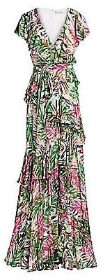 Badgley Mischka Women's Palm Print Ruffled Wrap Gown